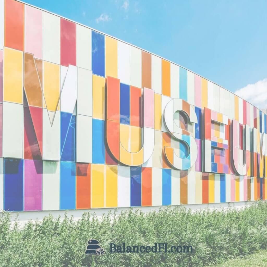 multicolor museum sign